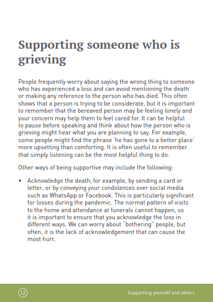 Grief and bereavement during the COVID-19 pandemic